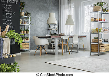 Table in eclectic dining room - Big communal table and...