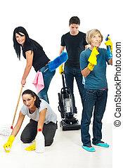 gente, trabajo en equipo, limpieza, casa
