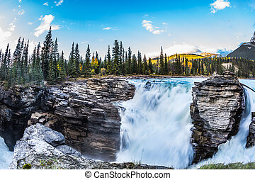 The seething waterfall of Athabasca - Travel to Jasper Park,...