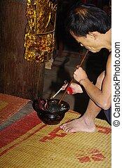 Pipe Smoker of the pagoda