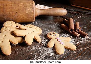 Rolling pin and gingerbread men - Rolling pin and homemade...