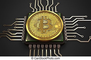 3d bitcoin CPU - 3d illustration of bitcoin over black...