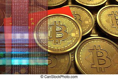 3d bitcoin china flag - 3d illustration of bitcoin over...