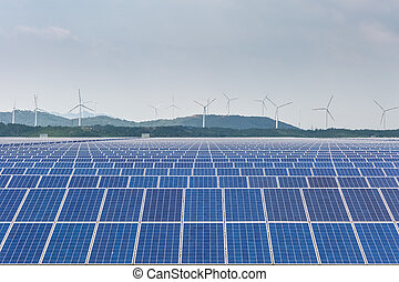 solar power station with wind farm, clean energy background