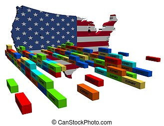 USA map with stacks of export containers illustration