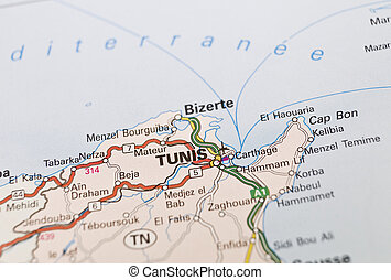 Map of Tunis in Tunisia