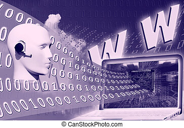 digital world: binary code floating to laptop over www...
