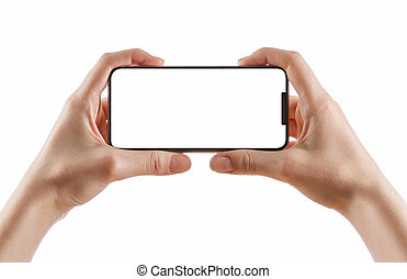 hands holding black smartphone on white clipping path inside