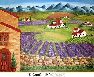 Italian valley - Mural on the wall by Irina Shiyan Italian...