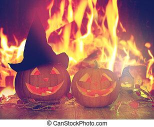 fogo, sobre, dia das bruxas, abóboras, esculpido, tabela