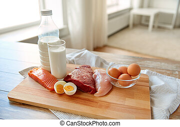 natural protein food on wooden table - natural food, healthy...
