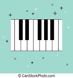 Piano keyboard top view. Musical flat background. Vector...