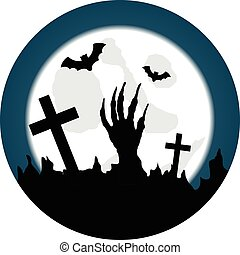Halloween Graveyard with Living Dead and Moonlight Round Sticker