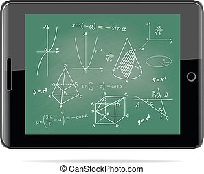 e-learning concept. Tablet computer with mathematics - geometric shapes and expressions sketches on school board
