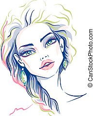 Vector beautiful fashion girl