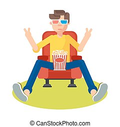 teenager in cinema - Young teen spectator in a movie theater...
