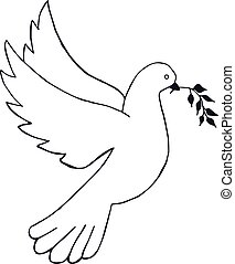 Dove with olive branch. Hand draw. Vector illustration.