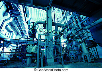 Industrial zone, Steel pipelines, valves and ladders...