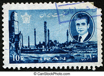 Portrait of Shah Mohammad Reza Pahlavi, on the background of the