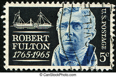 Robert Fulton - USA - CIRCA 1965: A stamp printed in United...