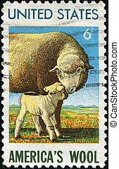 sheep with lamb - USA - CIRCA 1965: A stamp printed in...