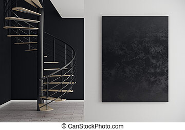Interior with empty billboard - Close up and front view of...