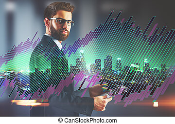 Investment concept - Businessman using tablet on abstract...