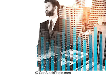 Economy concept - Handsome young businessman standing on...