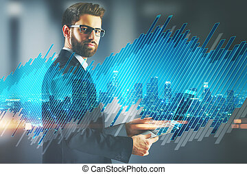 Analysis concept - Businessman using tablet on abstract city...