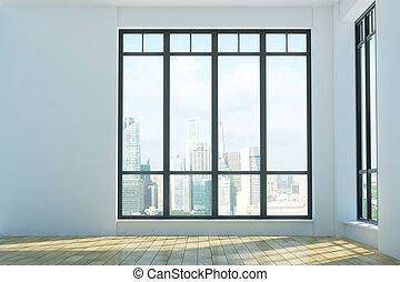 Bright unfurnished interior with city view - Bright...