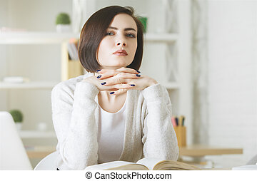 White business woman doing paperwork - Portrait of white...