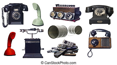Collage of vintage telephones isolated on white background