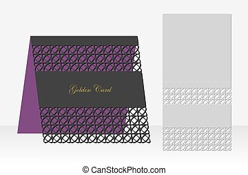 Card with geometric pattern for laser cutting. Silhouette...