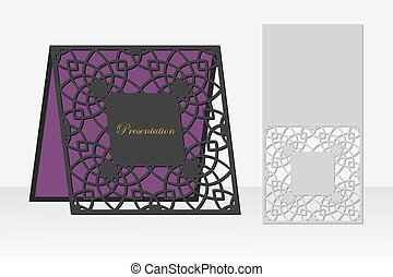 Card with a repeating geometric pattern for laser cutting....