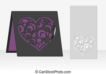Card with heart circle geometric pattern for laser cutting....