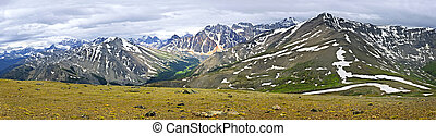 Panorama of Rocky Mountains in Jasper National Park, Canada...