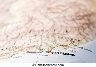 Map of Port Elizabeth in South Africa