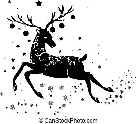 Reindeer ornamental silhouette isolated on white background