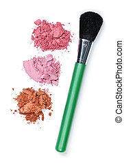 Crushed cosmetics with makeup brush - Blush cosmetics powder...