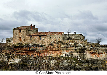 mediterranean village - a view of Siurana, an ancient...