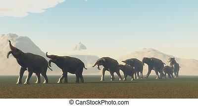Deinotherium Herd - A herd of Deinothrium mammals head to a...