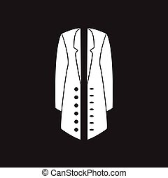 Flat icon in black and white coat - Flat icon in black and...
