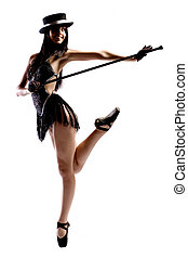 Ballet girl - Woman in black ballet shoes, cane, hat and...