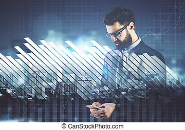 Career concept - Businessman using smartphone on abstract...
