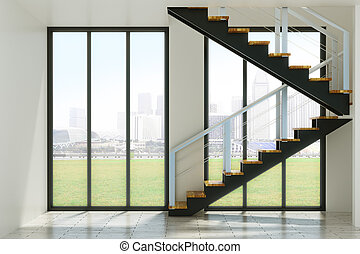 Forward concept - Modern interior with stairs and city view....