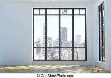 Modern unfurnished interior with city view - Modern...