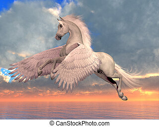branca, cavalo árabe, pegasus