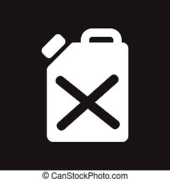 Flat icon in black and white fuel canister - Flat icon in...
