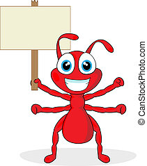 cute little red ant with wood sign - vector illustration of...
