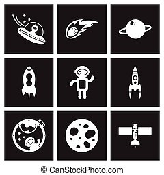 Concept flat icons in black and white astronautics - Concept...